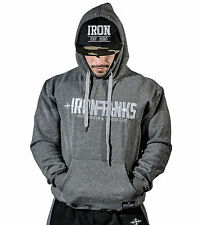 MENS HULK GYM BODYBUILDING HOODIE HOODED JUMPER TRAINING PULLOVER - S140 GREY