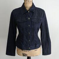 Talbots Denim Jacket Womens Size 4P Button Down Dark Wash Flip Cuff Pockets