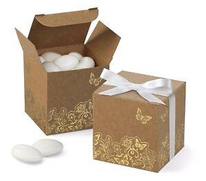Wilton 25 Piece Butterflies Favour Box Foil Gold 5 x 5 x 5 cm Gift Set Packaging