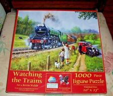 SunsOut 1000 Pc Jigsaw Puzzle WATCHING THE TRAINS Kevin Walsh Used
