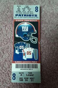 Original 2007 Perfect Regular Season Game 16-0 Patriots Giants Tom Brady Ticket