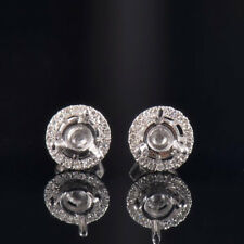 Natural Diamond Semi Mount Dual Use Earrings Stud Set Round 4.5mm 14K White Gold