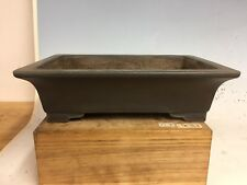 Grey Clay Bonsai Tree Pot Made By Yukizyou Nakano, Gyouzan Kiln. 12 3/4""
