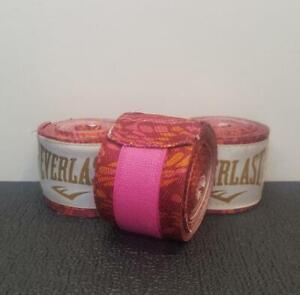 """3x  120"""" Everlast Hand Wraps [+WSD]  Printed Pink Breast Cancer  MMA Boxing  New"""