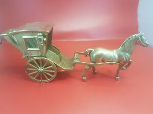 Vintage Brass Horse And Carriage Ornament
