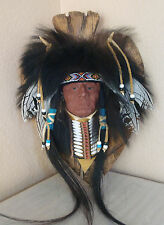 Native American Indian Chief Black Bear Wall Sculpture Signed Heather Healey LG