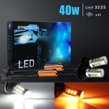 Canbus 3157 Switchback LED Turn Signal Parking DRL Light Bulbs Kit White/Amber