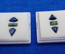 9 Cts Fancy Sapphire Cabochon Set. Clean Thai Blue and Cambodian Green Sapphire.