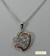 LC Double Heart Sterling Silver Pendant with Diamond White Stones & Necklace