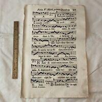 Huge 1700's Music Sheet Folio Leaf Used In Le Mans - France - Decor Display - B