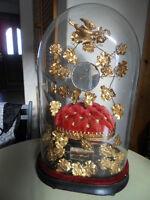 Vintage married globe verre ovale de mariés XIXe Napoleon III art nouveau