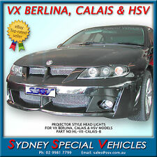 PROJECTOR STYLE HEADLIGHTS FOR VX BERLINA, CALAIS & HSV MODELS BLACK - COMMODORE