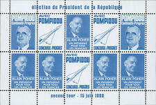 """POLITICAL LABELS BLUE """"France Presidential 2nd ROUND / POMPIDOU - POHER"""" 1969"""