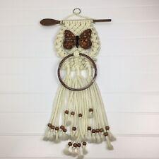 Vintage Handmade Macrame Ivory Towel Holder Ceramic Butterfly 70's Kitchen Decor
