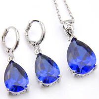 Wholesale 2 pcs 1 Lot Teardrop Blue Topaz Gems Platinum Plated Pendants Earrings