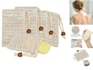 4 Pack Natural Sisal Soap Bag Exfoliating Soap Saver Pouch Holder Soft for skin