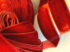 "VINTAGE 1"" VELVET ribbon RAYON 3 yds RICH OXBLOOD RED Made in France"