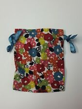 Brighton Small Colorful Flower Soft Cloth Cinch String Jewelry Gift Pouch Bag