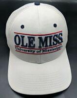 UNIVERSITY OF MISSISSIPPI / OLE MISS white hat adjustable snapback cap