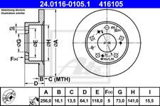 2x Bremsscheibe für Bremsanlage Vorderachse ATE 24.0116-0105.1