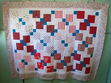 AF0823 Handmade Patchwork LAP QUILT TOP, Disappearing 9-Patch, 49 x 61.5 REDS