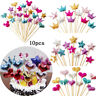 10 PU Glitter Crown Heart Cake Topper Baby Birthday Party Wedding Cupcake Decor