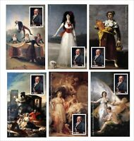 2010 FRANCISCO GOYA PAINTINGS ART 12 SOUVENIR SHEETS MNH UNPERFORATED