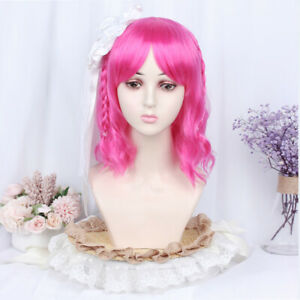 Sweet Japanese Cosplay Nature Pink Curly Hair Lolita Woman Party Wig Hairpiece