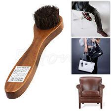 Long Wood Handle Horse Bristle Hair Brush Shoes Boot Polish Buffing Brush Care