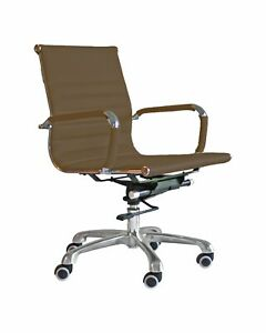 Porter Low Back Ribbed Office Chair Chocolate Brown
