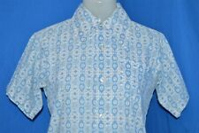 vintage 70S Big Collar White Blue Flowered All Over Print Disco Shirt Youth 14 S