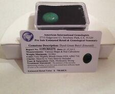 Certified $750.00 Dyed Emerald Green Beryl Gemstone - 14.00ct