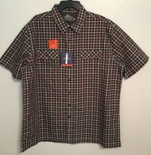 CROFT & BARROW Quick-Dry Button Up Shirt Ventilated Mesh Brown Mens Size XL NWT
