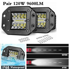 2x Flush Mount Spot Flood Combo LED Light Truck Pickup Off-Road 6500K White Lamp