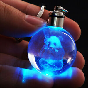 Animal Panda Crystal 3D LED Night Light Key Chain Child Accessories Gift toy