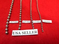 "1.5 mm-6 mm 7""-42"" SILVER  STAINLESS STEEL BALL CHAIN NECKLACE, USA SELLER"