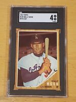 1962 Topps #190 Wally Moon with Cap SGC 4 Newly Graded Beautiful Undergraded