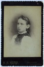 Old Photo Cabinet Card Young Lady by Photographer H.A. Kemp late 1800's