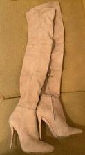 balmain Knee High Beige Suede Booties sz 37 6,5