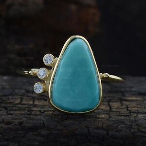 Pear Turquoise Gemstone Diamond Solitaire Ring Solid 14K Yellow Gold Fine Gifts
