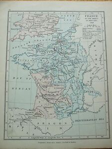 ANTIQUE PRINT MAP DATED 1905 FRANCE AT THE TREATY OF BRETIGNI 1360 MAP OF WORLD
