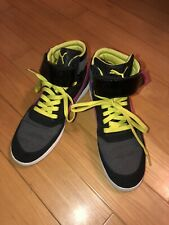 Puma Womens Black/Pink/Lime Green Size 8.5 Hightop Athletic Shoes