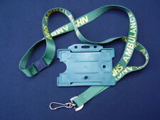 NHS AMBULANCE Green/Yellow Safety Neck Lanyard+Service ID Pass Card/Badge Holder