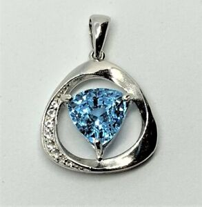 3 Ct Certified Swiss Blue Topaz Pendant in White Gold over Sterling Silver
