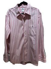 Lacoste Mens Size 44 Button Down Dress Shirt Pink White Striped Pocket Izod