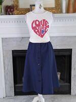 Vintage Blue Button Front Circle Midi Skirt Medium