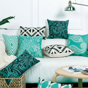 Wholesale Linen Pillow Cover Cushion Cover Vintage Blue Black Geometric Henna