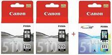 Canon 510 511 Black & Colour Genuine Ink Cartridge Multipack PG-510 CL-511 .