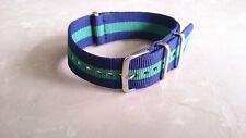Nato Nylon Watch Strap 20mm Blue Green Bracelet Bond Nato Band Correa Reloj