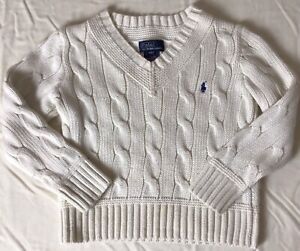 Polo Ralph Lauren Kids Pullover Sweater Size 4/4T Cream Cable Knit Long Sleeve